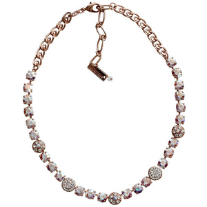 "Mariana Rose Gold Plated Flower Shapes Swarovski Crystal Necklace, 18"" Clear Crystal AB 3044/1 001ABrg"