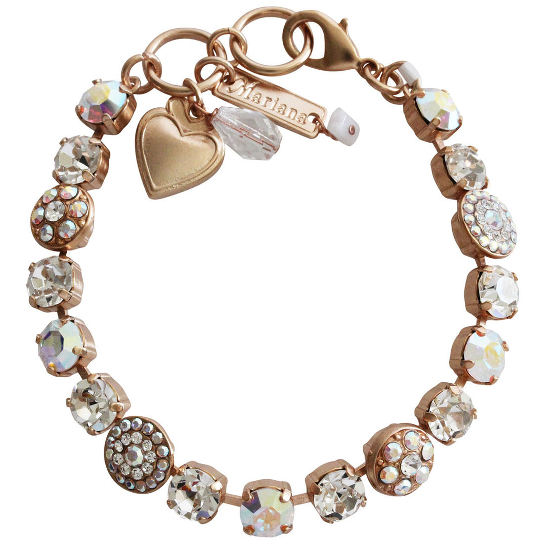 Mariana Rose Gold Plated Flower Shapes Swarovski Crystal Bracelet, 7.25