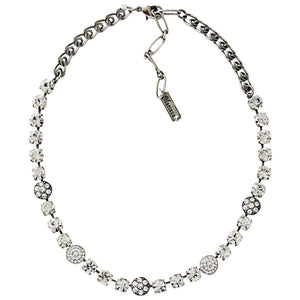 "Mariana Silver Plated Flower Shapes Swarovski Crystal Necklace, 16"" On A Clear Day 3044/1 001001"