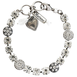 "Mariana Silver Plated Flower Shapes Swarovski Crystal Bracelet, 7.25"" On A Clear Day 4044 001001"