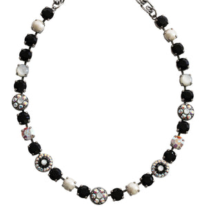 "Mariana Silver Plated Flower Shapes Swarovski Crystal Necklace, 16"" Black White MOP 3044/1 M87280"