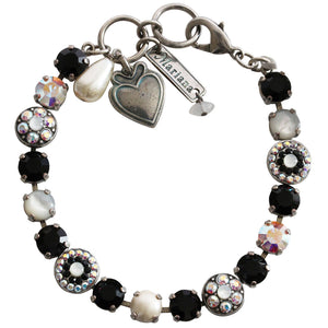 "Mariana Silver Plated Flower Shapes Swarovski Crystal Bracelet, 7.25"" Black White MOP 4044 M87280"