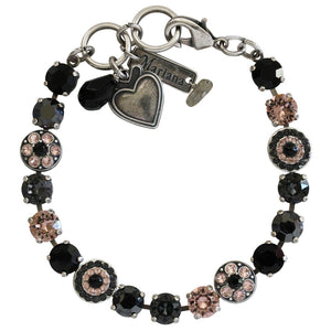 "Mariana Silver Plated Flower Shapes Swarovski Crystal Bracelet, 7.25"" Black Velvet 4044 1073"