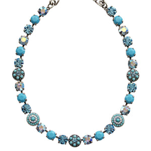 "Mariana Silver Plated Flower Shapes Swarovski Crystal Necklace, 16"" Bliss 3044/1 2672"