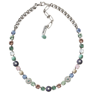"Mariana Silver Plated Flower Shapes Swarovski Crystal Necklace, 18"" California Dreaming 3044/1 M1067"