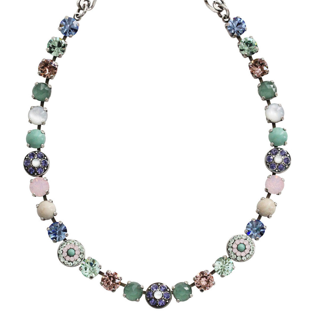 Mariana Silver Plated Flower Shapes Swarovski Crystal Necklace, 18