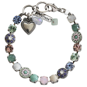 "Mariana Silver Plated Flower Shapes Swarovski Crystal Bracelet, 7.25"" California Dreaming 4044 M1067"