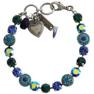 "Mariana Silver Plated Flower Shapes Swarovski Crystal Bracelet, 7.25"" Capri Blue 4044 17"