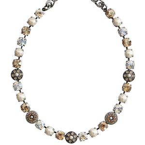 "Mariana Silver Plated Flower Shapes Swarovski Crystal Necklace, 16"" Champagne and Caviar 3044/1 3911"