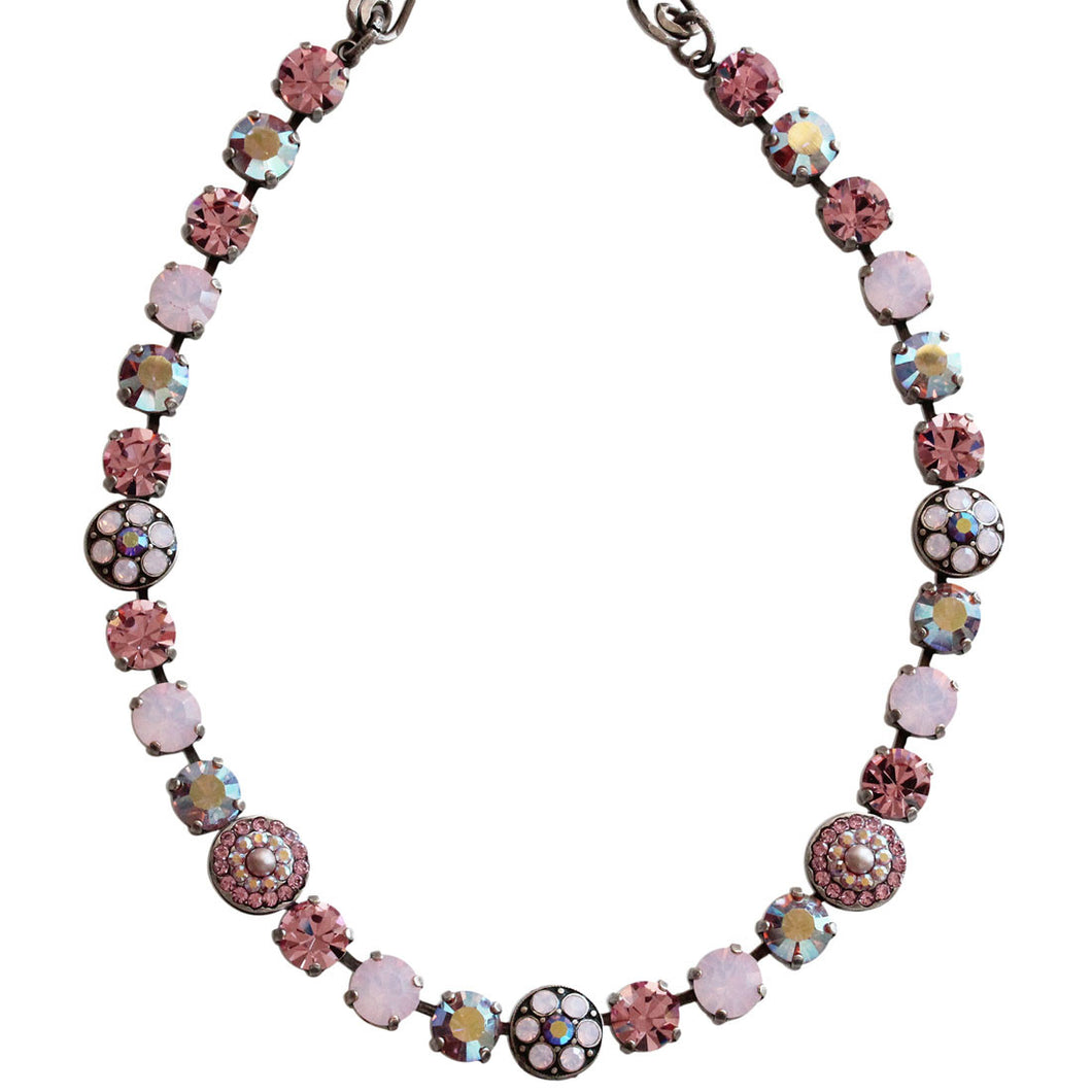 Mariana Silver Plated Flower Shapes Swarovski Crystal Necklace, 16