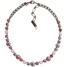 "Mariana Silver Plated Flower Shapes Swarovski Crystal Necklace, 16"" Pink AB 3044/1 223"