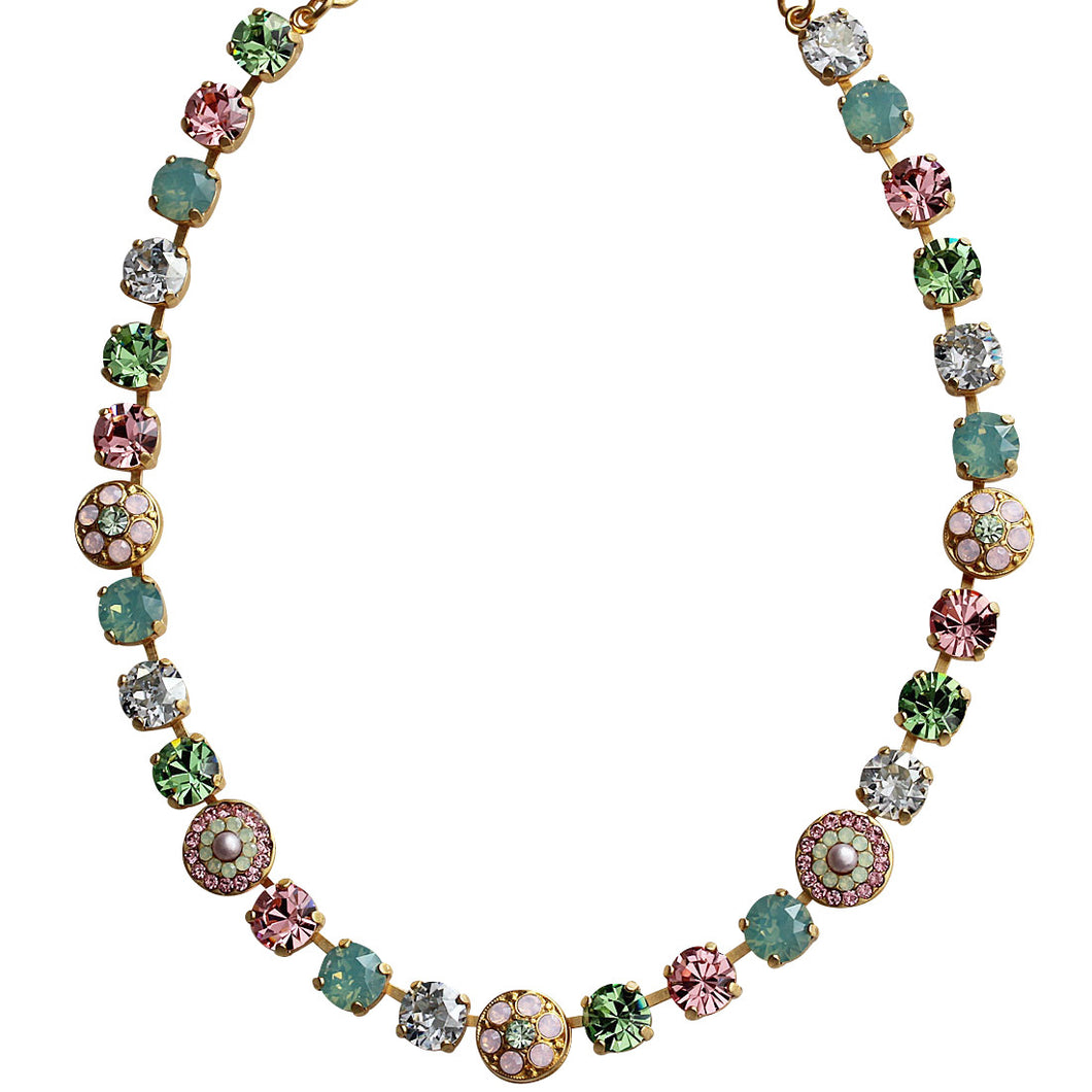 Mariana Gold Plated Flower Shapes Swarovski Crystal Necklace, 18