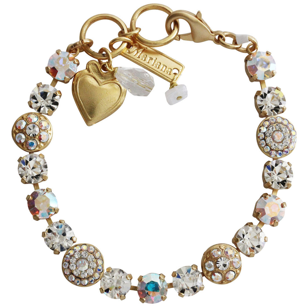 Mariana Gold Plated Flower Shapes Swarovski Crystal Bracelet, 7.25