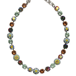 "Mariana Silver Plated Flower Shapes Swarovski Crystal Necklace, 16"" Gold Coast 3044/1 4101"