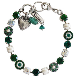 "Mariana ""Green with Envy"" Silver Plated Flower Shapes Swarovski Crystal Bracelet, 7.25"" 4044 3001"