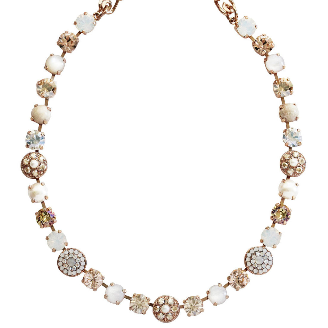 Mariana Rose Gold Plated Flower Shapes Swarovski Crystal Necklace, 16