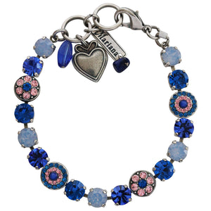 "Mariana Kiss From A Rose Silver Plated Flower Shapes Swarovski Crystal Bracelet, 7.25"" 4044 1068"