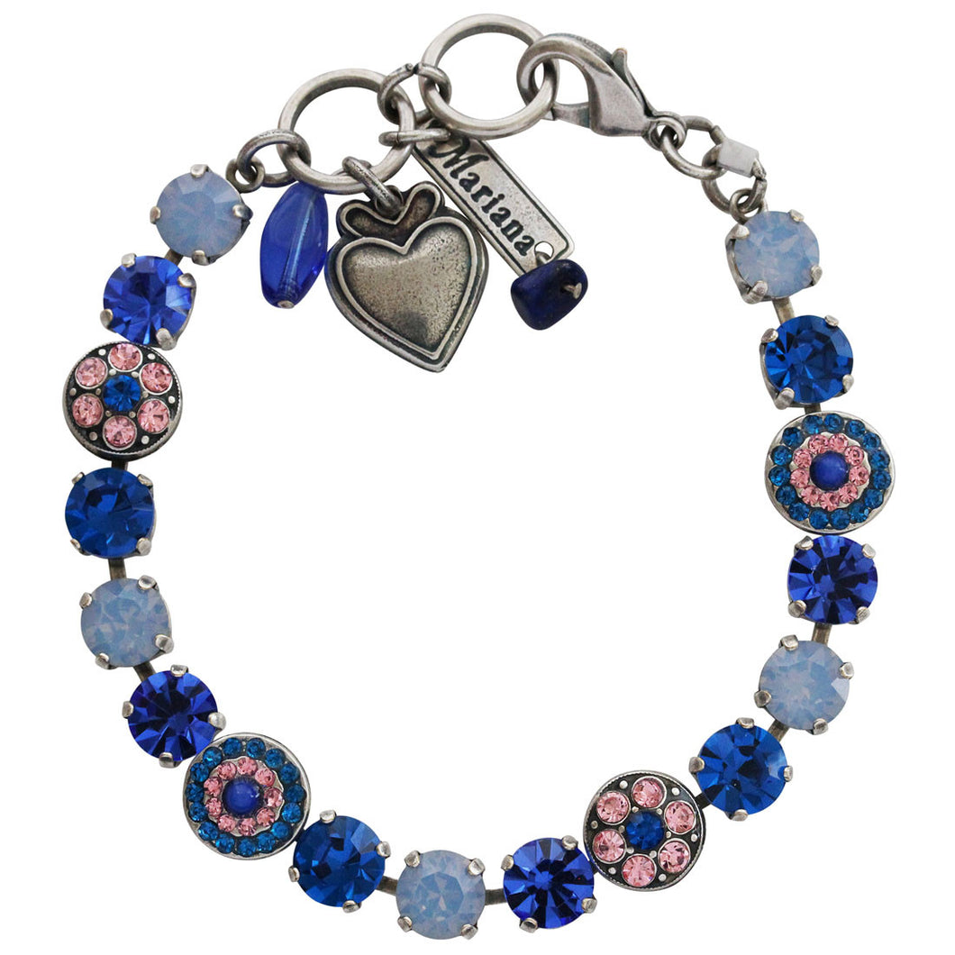 Mariana Kiss From A Rose Silver Plated Flower Shapes Swarovski Crystal Bracelet, 7.25
