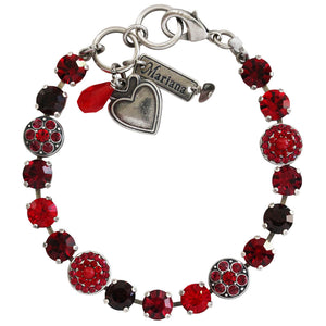 "Mariana Silver Plated Flower Shapes Swarovski Crystal Bracelet, 7.25"" Lady in Red 4044 1070"