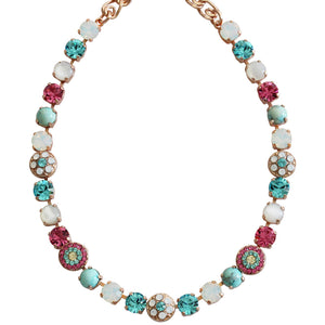 "Mariana Rose Gold Plated Flower Shapes Swarovski Crystal Necklace, 18"" Margarita 3044/1 M1064rg"