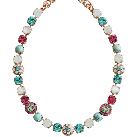 Mariana Rose Gold Plated Flower Shapes Swarovski Crystal Necklace, 18
