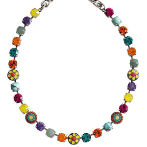 "Mariana ""Masai"" Silver Plated Flower Shapes Swarovski Crystal Necklace, 16"" 3044/1 M1077sp"