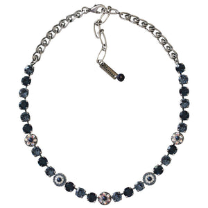 "Mariana Silver Plated Flower Shapes Swarovski Crystal Necklace, 16"" Mood Indigo 3044/1 1069"