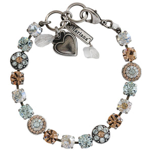 "Mariana Silver Plated Flower Shapes Swarovski Crystal Bracelet, 7.25"" Moon Dance 4044 MOL361"