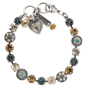 "Mariana Silver Plated Flower Shapes Swarovski Crystal Bracelet, 7.25"" Moon Drops 4044 216-3"