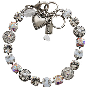 "Mariana Silver Plated Flower Shapes Swarovski Crystal Bracelet, 7.25"" On A Clear Day 4044 001"