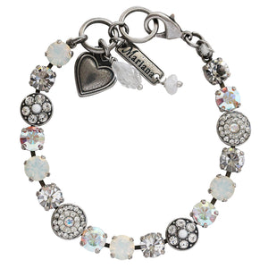 "Mariana Silver Plated Flower Shapes Swarovski Crystal Bracelet, 7.25"" On A Clear Day White Iridescent 4044 001"