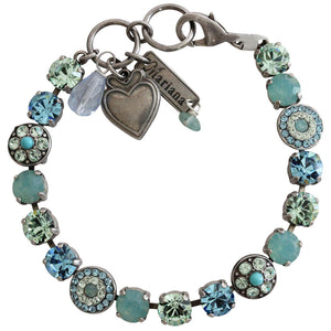 "Mariana Silver Plated Flower Shapes Swarovski Crystal Bracelet, 7.25"" Pacific Blue 4044 6170"