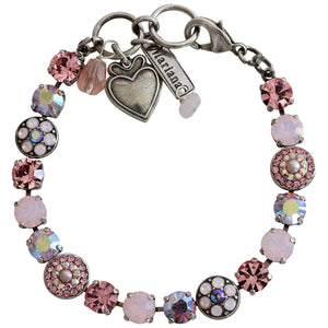 "Mariana ""Pretty in Pink"" Silver Plated Flower Shapes Swarovski Crystal Bracelet, 7.25"" 4044 223"