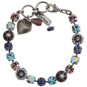"Mariana Silver Plated Flower Shapes Swarovski Crystal Bracelet, 7.25"" Purple Aqua 4044 153"