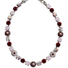 "Mariana Silver Plated Flower Shapes Swarovski Crystal Necklace, 16"" True Romance 3044/1 2300"