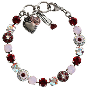 "Mariana Silver Plated Flower Shapes Swarovski Crystal Bracelet, 7.25"" True Romance 4044 2300"