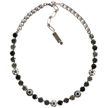 "Mariana Silver Plated Flower Shapes Swarovski Crystal Necklace, 16"" Tuxedo 3044/1 3701"
