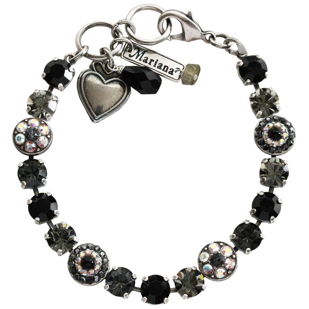 Mariana Tuxedo Silver Plated Flower Shapes Swarovski Crystal Bracelet, 7.25