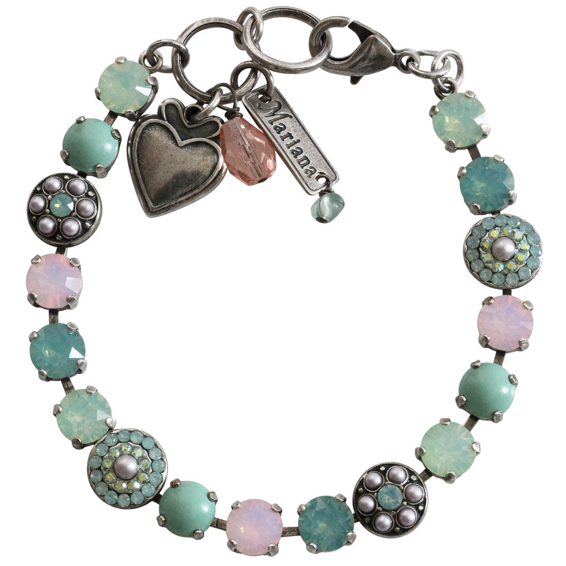 "Mariana Silver Plated Flower Shapes Swarovski Crystal Bracelet, 7.25"" Morning Glory 4044 1342"