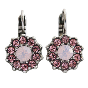 "Mariana ""Antigua"" Silver Plated Daisy Floral Flower Swarovski Crystal Earrings, Pink Rose 1157 223-1"