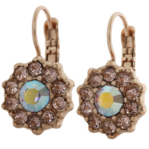 Mariana Rose Gold Plated Daisy Swarovski Crystal Earrings, Pink Petal 1157 319mr