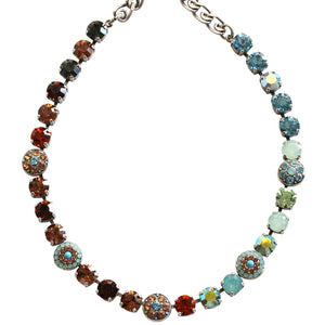"Mariana Silver Plated Flower Shapes Swarovski Crystal Necklace, 18"" Forget Me Not 3044/1 1329"