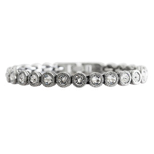 "Patricia Locke ""Game, Set, Match"" Sterling Silver Plated Bracelet, 7"" All Crystal BR0205S"
