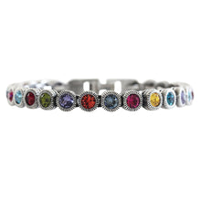 "Patricia Locke Game, Set, Match Sterling Silver Plated Multi Swarovski Crystal Multi Color Tennis Bracelet, 7"" Celebration BR0205S"