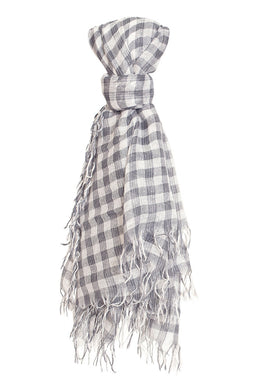 Chan Luu Cashmere and Silk Scarf Wrap - Ebony White Metallic Gingham BRH-SC-448