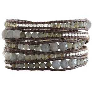 Chan Luu Graduated Labradorite Sterling Silver Nuggets Brown Leather Wrap Bracelet BS-2624