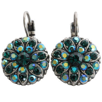Mariana Silver Plated Flower Blossom Swarovski Crystal Earrings, Green 1029 205