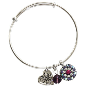 "Mariana Guardian Angel Swarovski Crystal Bangle Bracelet, 2.5"" Purple Fuchsia 4612M 300-1"