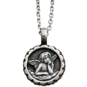 "Mariana Guardian Angel Swarovski Crystal Pendant Necklace, 16"" Metallic Black Clear Pink 5212 747-1"