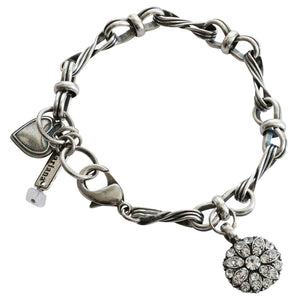 "Mariana Silver Plated Guardian Angel Charm Crystal Bracelet, 7.25"" On A Clear Day 4026/3 001001"